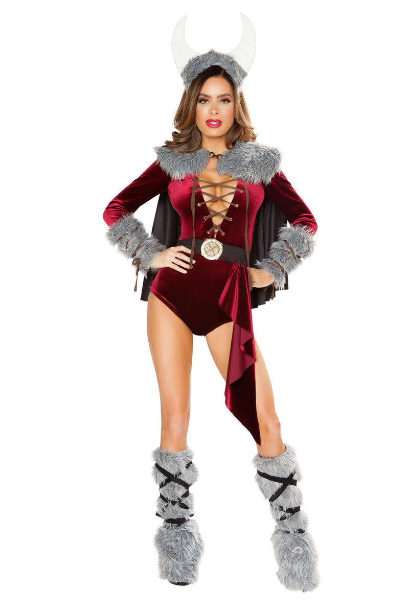 4-PC-Viking-Warrior-Lady-Red-Lace-Up-Romper-&-Cape-w/-Accessories-Party-Costume
