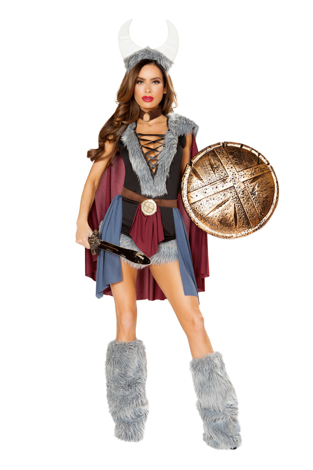 5-PC-Viking-Warrior-Lady-Lace-Up-Dress-&-Cape-w/-Accessories-Party-Costume