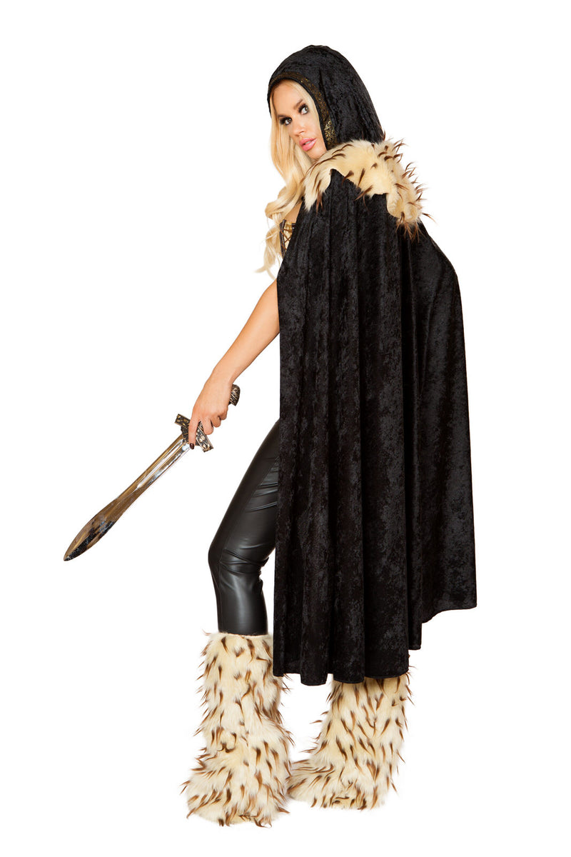 3 PC Wariror Woman Black Corset & Tights w/ Fur Cape Party Costume - Fest Threads