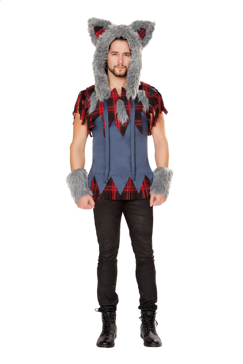 1-PC-Big-Bad-Wolf-Man-Red-Plaid-Frayed-Shirt-Party-Costume
