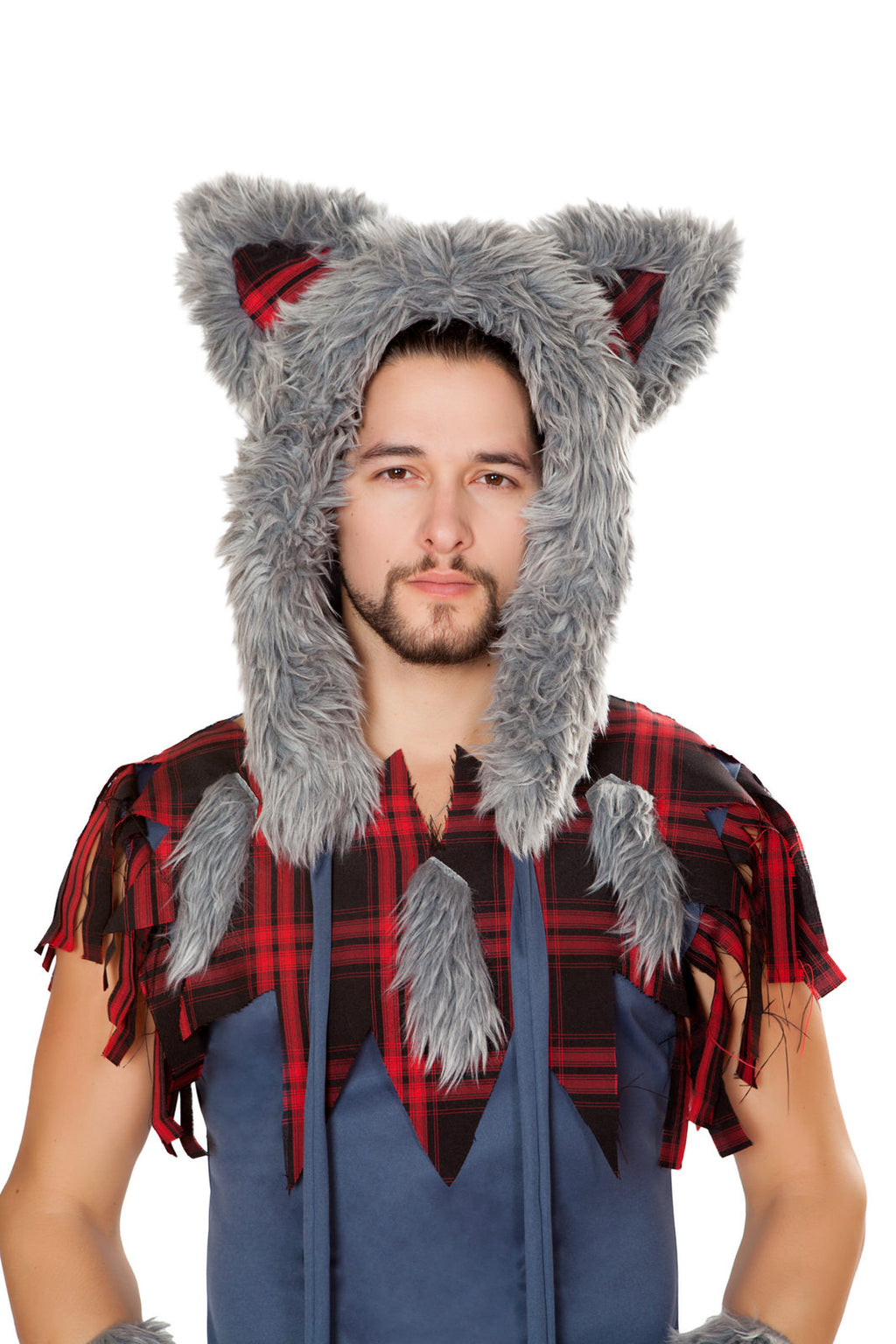 Adult-Men's-Big-Bad-Wolf-Man-Hoodie-Hat-Party-Costume-Accessory