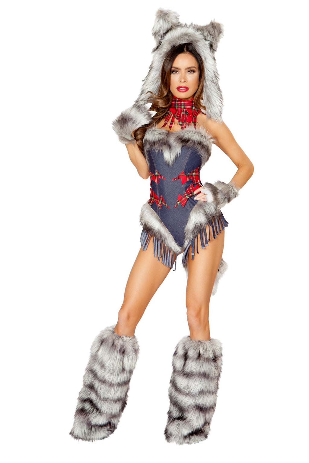 1-PC-Big-Bad-Wolf-Girl-Gray-Fringe-Romper-Party-Costume