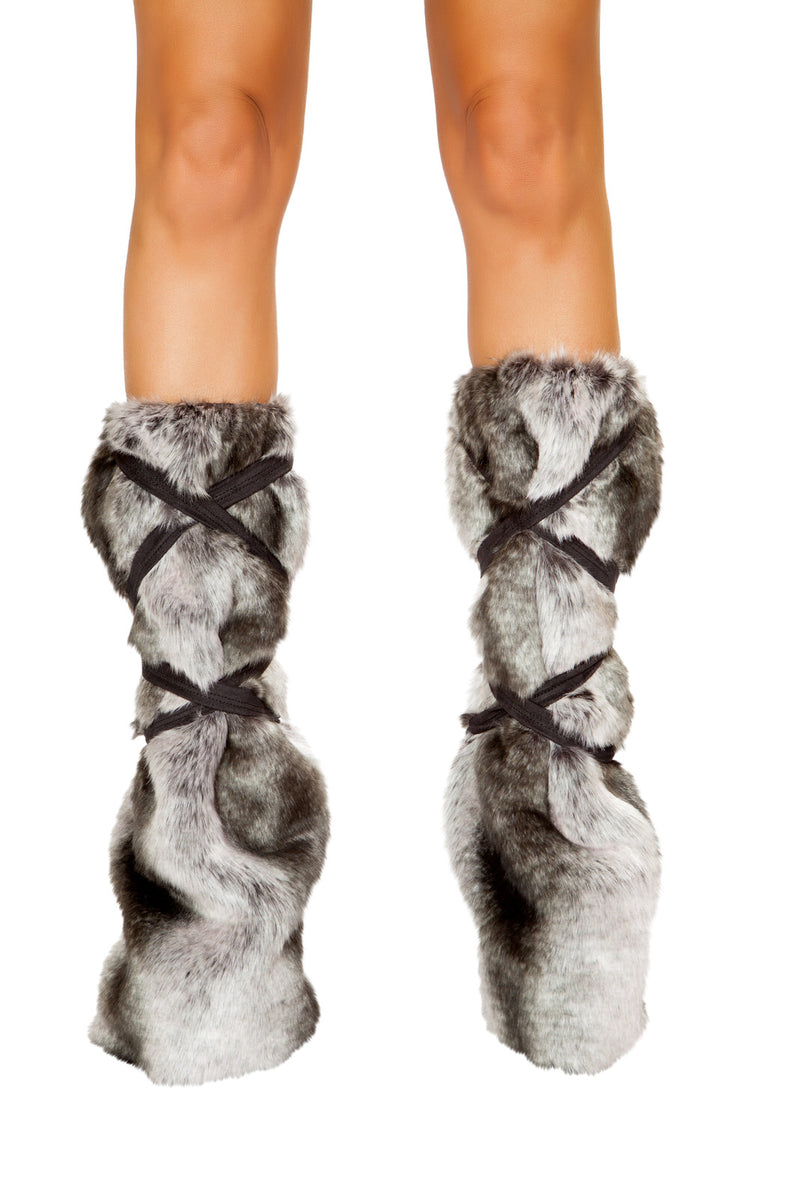 Adult-Women's-Eskimo-Snow-Babe-Gray-&-Brown-Fur-Leg-Warmers-Costume-Accessory