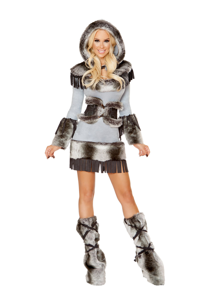 3-PC-Eskimo-Snow-Babe-Gray-&-Brown-Cincher-Dress-&-Hooded-Shrug-Party-Costume