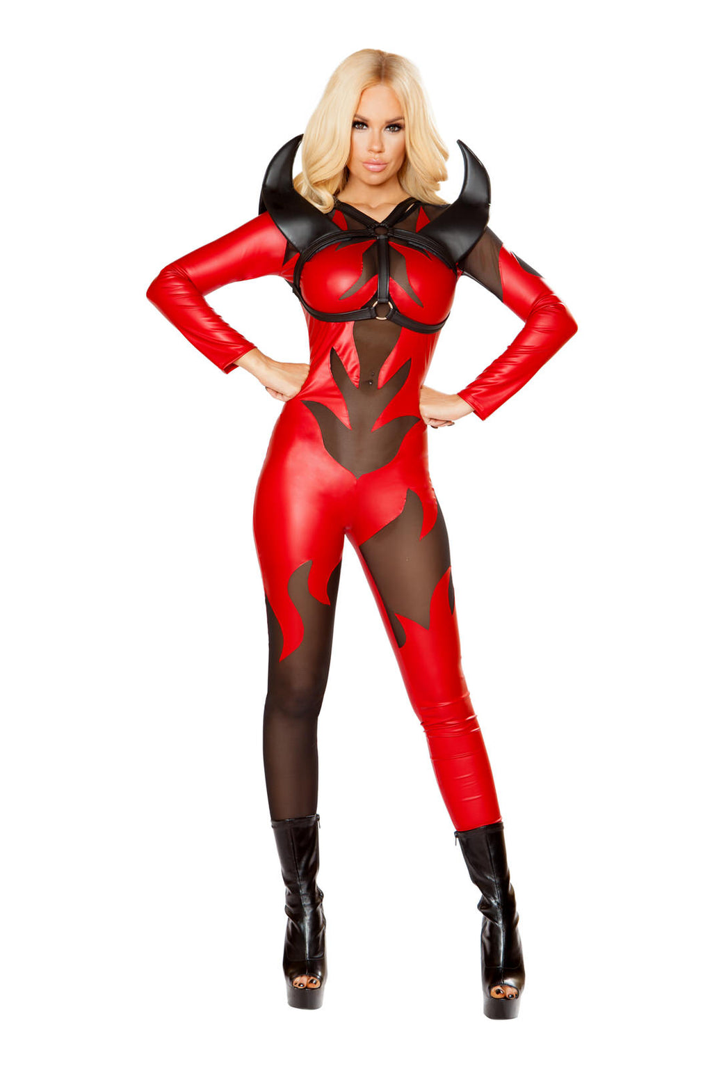 1-PC-Hot-Devil-Lady-Red-Sheer-Flame-Jumpsuit-Party-Costume