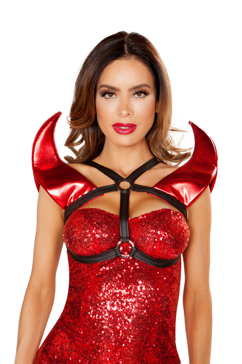 Adult-Women's-Hot-Devil-Lady-Metallic-Red-Horn-Chest-Harness-Costume-Accessory