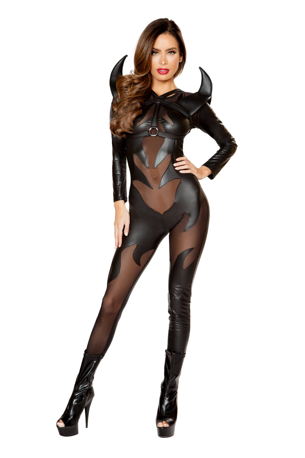 1-PC-Hot-Devil-Lady-Black-Sheer-Flame-Jumpsuit-Party-Costume