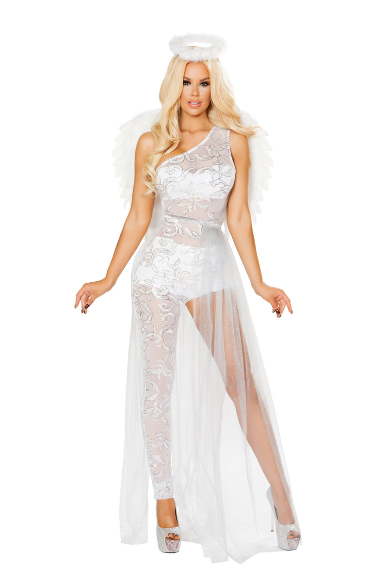 3-PC-Heavenly-Angel-Woman-White-Sheer-Jumpsuit-Dress-w/-Halo-Party-Costume