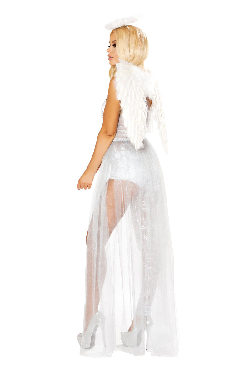 3 PC Heavenly Angel Woman White Sheer Jumpsuit Dress w/ Halo Party Costume - Fest Threads