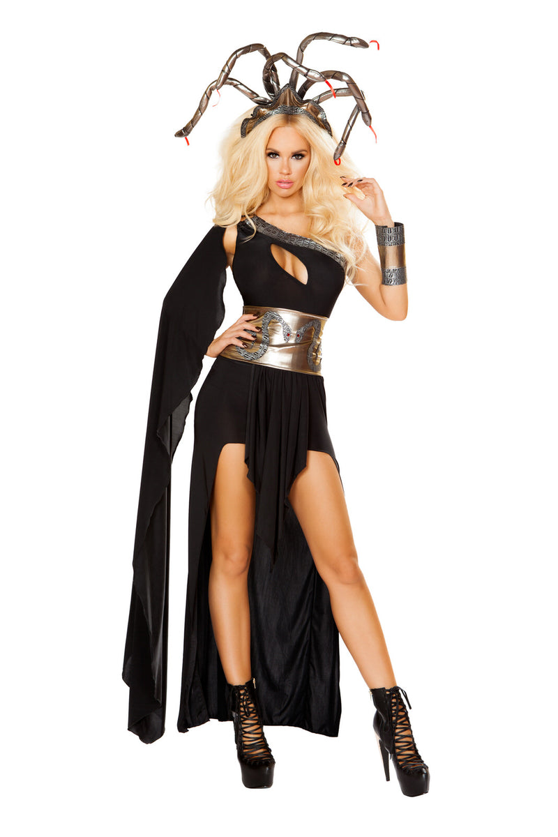 4-PC-Medusa-Black-One-Shoulder-Cincher-Dress-w/-Accessories-Party-Costume