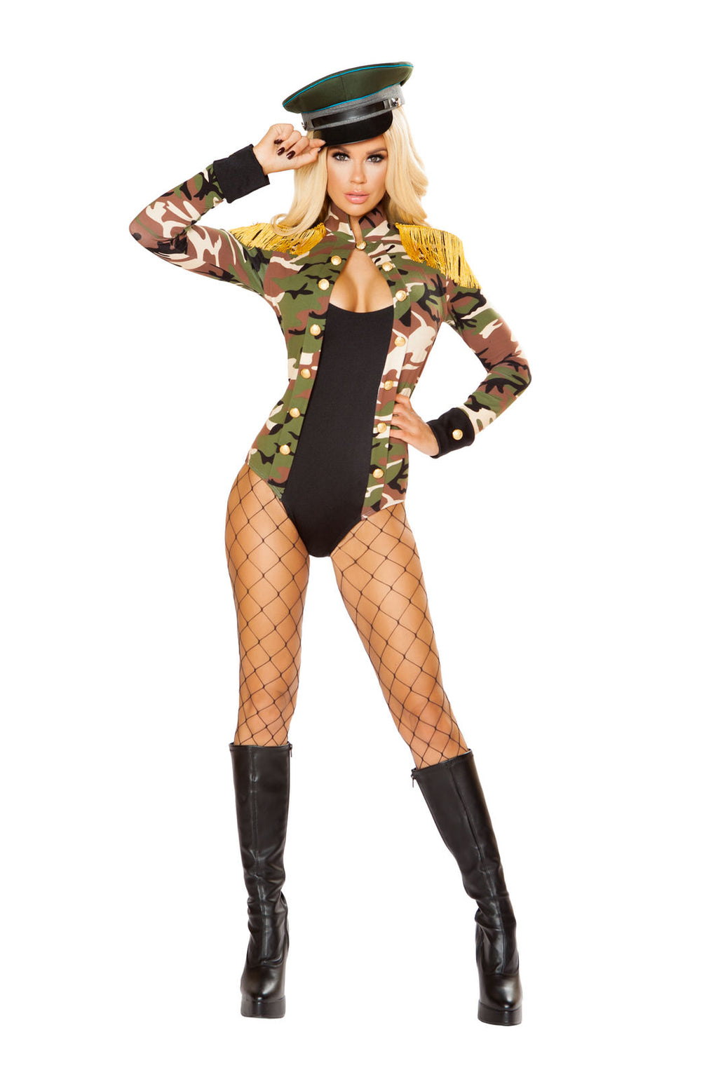 1-PC-Army-Military-Babe-Camouflage-Long-Sleeve-Romper-Party-Costume-