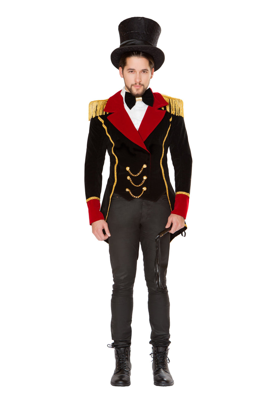 3-PC-Circus-Ringleader-Black-&-Red-Jacket-w/-Accessories-Party-Costume