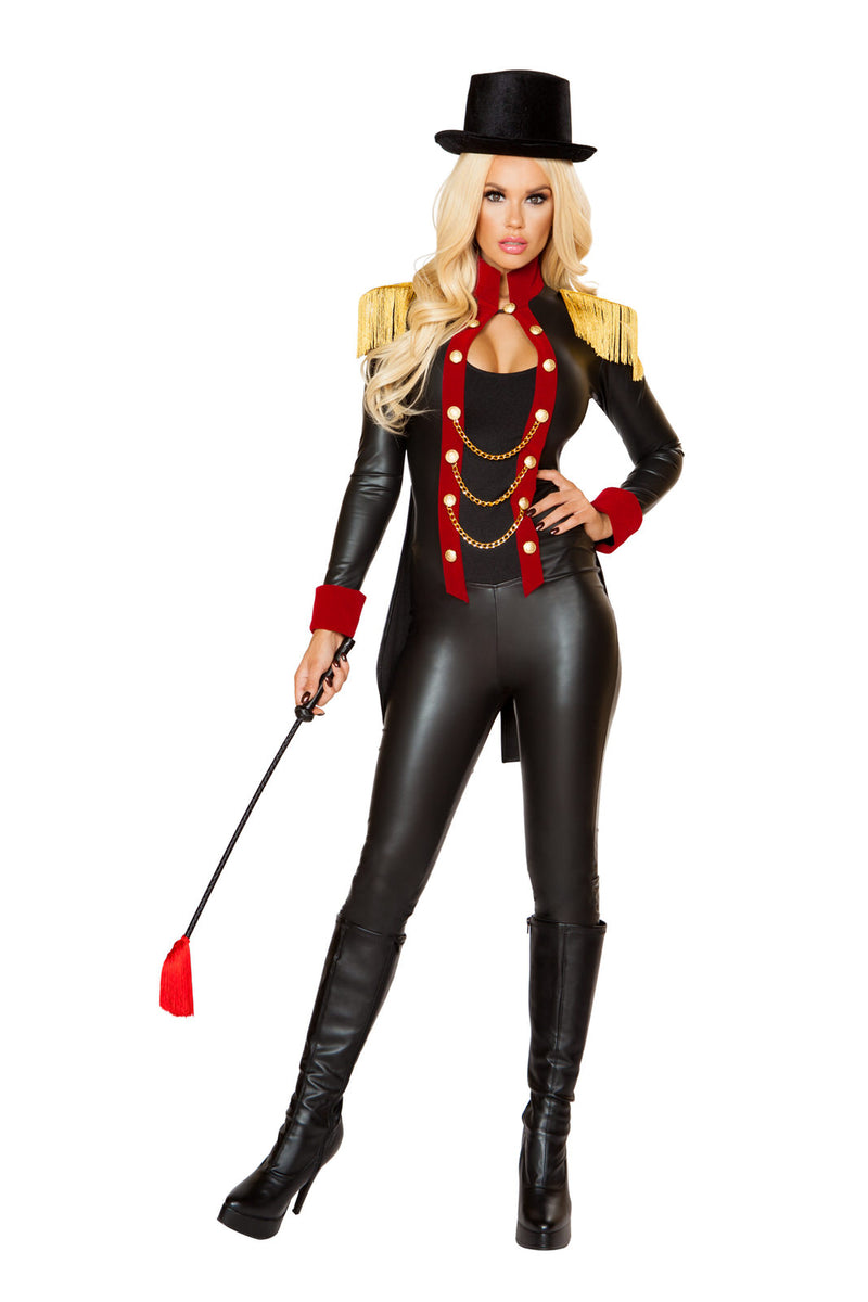 2-PC-Circus-Ringleader-Lady-Black-&-Red-Jumpsuit-w/-Top-Hat-Party-Costume