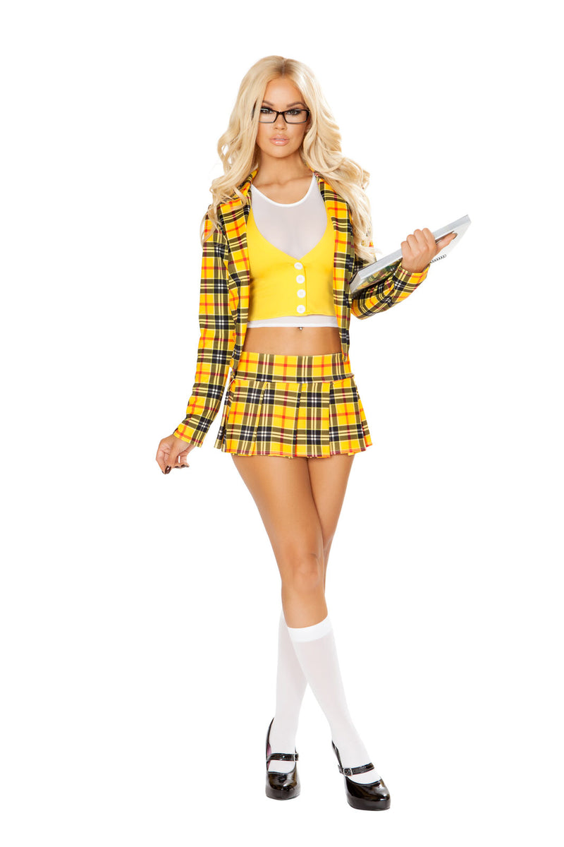 3-PC-Beverly-Hills-School-Girl-Yellow-Plaid-Blazer-&-Skirt-Party-Costume