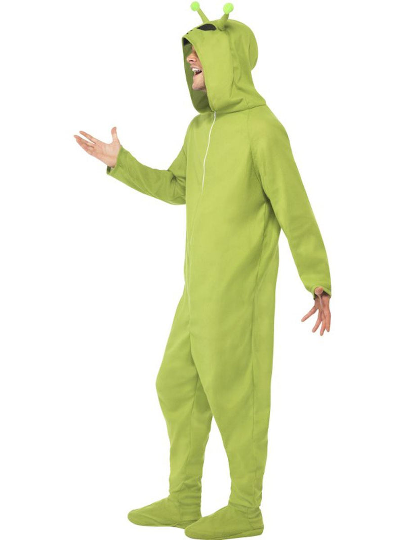 1 PC Unisex Alien Extraterrestrial UFO Green Hooded Onesie Jumpsuit Costume - Fest Threads