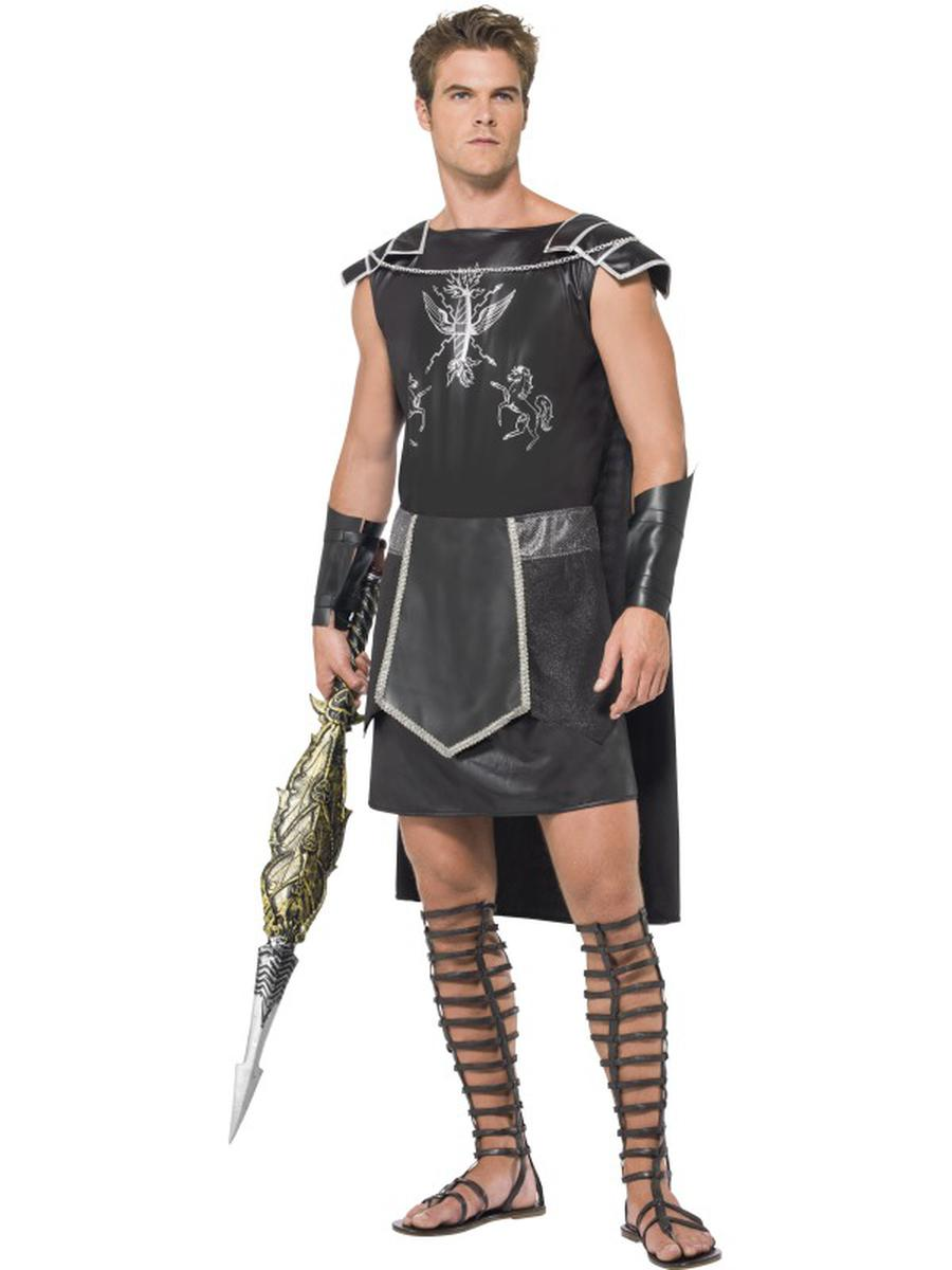 3-PC-Roman-Gladiator-Warrior-Man-Black-Tunic-w/-Cape-&-Arm-Cuffs-Party-Costume