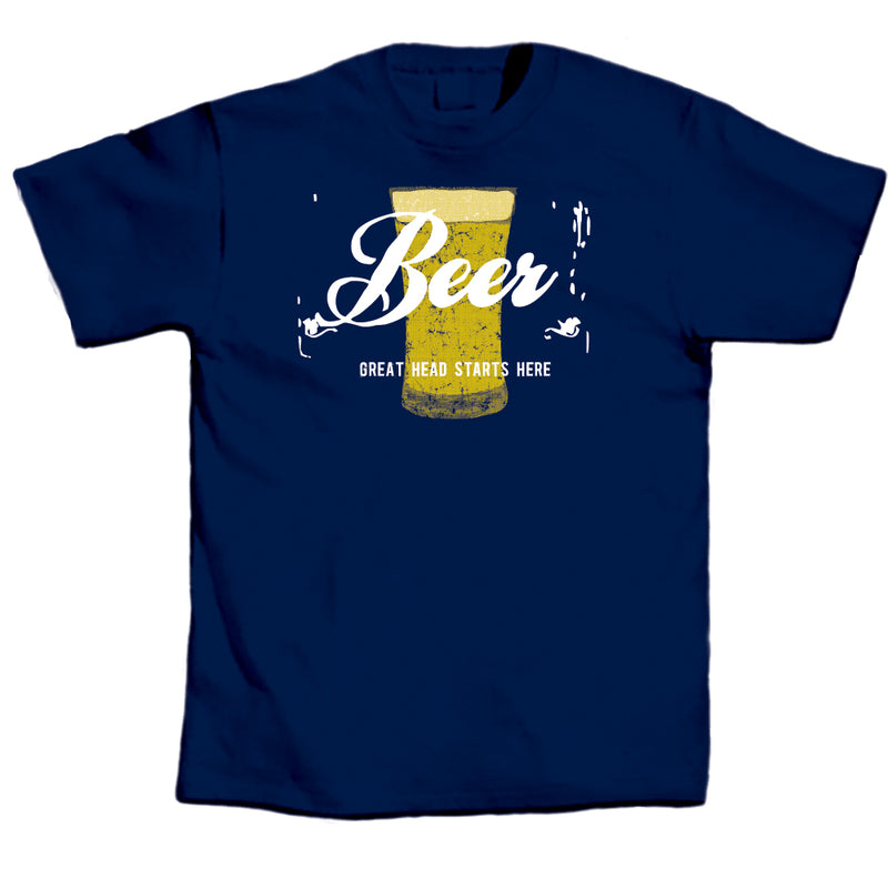 "Adult-Men's-Blue-""Beer---Great-Head-Starts-Here""-Shirt"