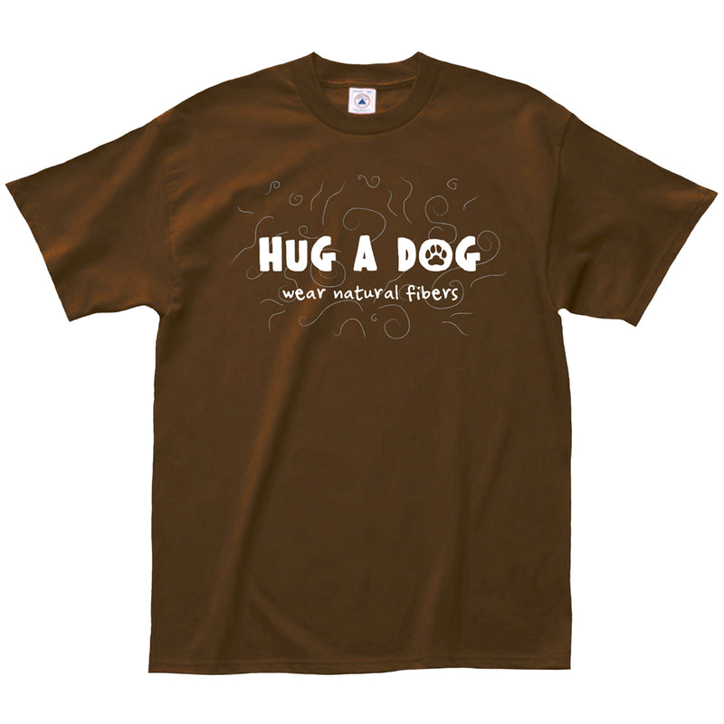 "Adult-Unisex-Brown-""Hug-A-Dog-Wear-Natural-Fibers""-Shirt"