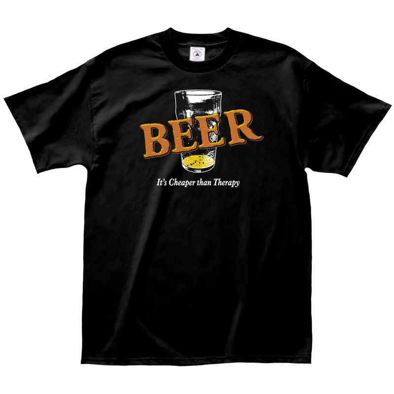 "Adult-Unisex-Black-""Beer-is-Cheaper-than-Therapy""-Shirt"