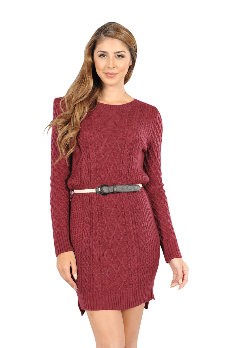 Adult's Women's Maroon Cable Knit Winter Christmas Sweater Dress - Fest Threads