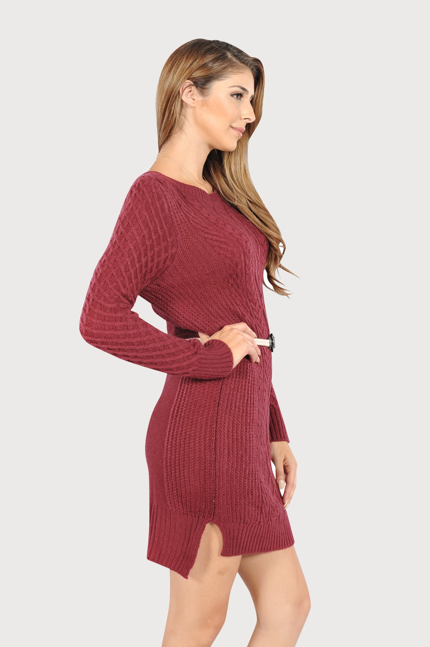 adults womens maroon cable knit winter christmas sweater dress fest threads - Christmas Sweater Dress