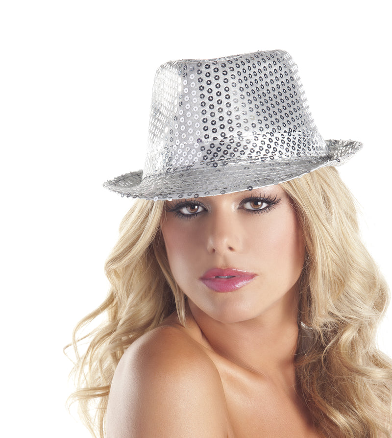 Adult-Women's-Sequin-Gangster-Hat-Novelty-Party-Halloween-Costume-Accessory