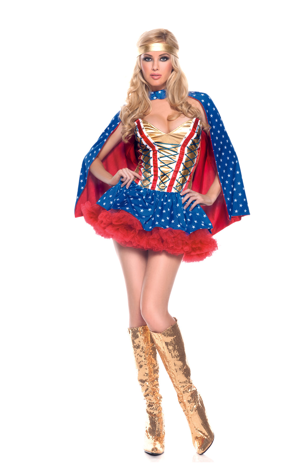 Adult-Women's-3-Piece-Super-Girl-Wonder-Woman-Halloween-Party-Costume