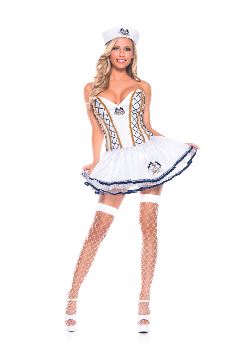Adult-Women's-2-Piece-Sailor-Captain-White-Dress-Halloween-Party-Costume