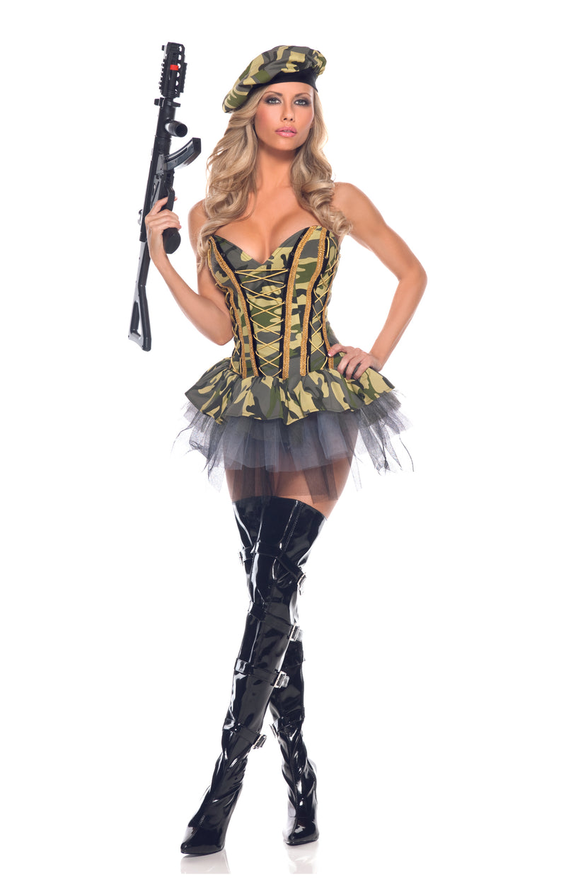 Adult-Women's-3-Piece-Camouflage-Army-Babe-Peplum-Dress-Halloween-Party-Costume