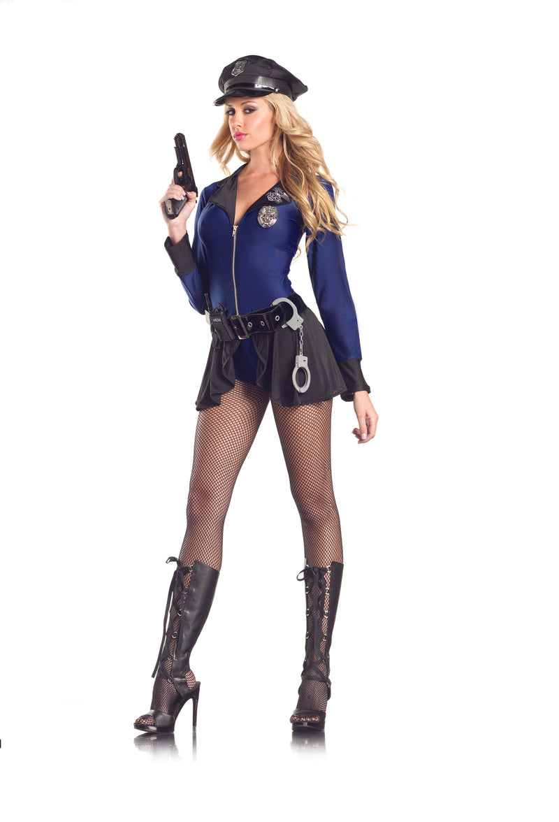 Adult-Women's-8-Piece-Police-Officer-Cop-Body-Suit-Halloween-Party-Costume