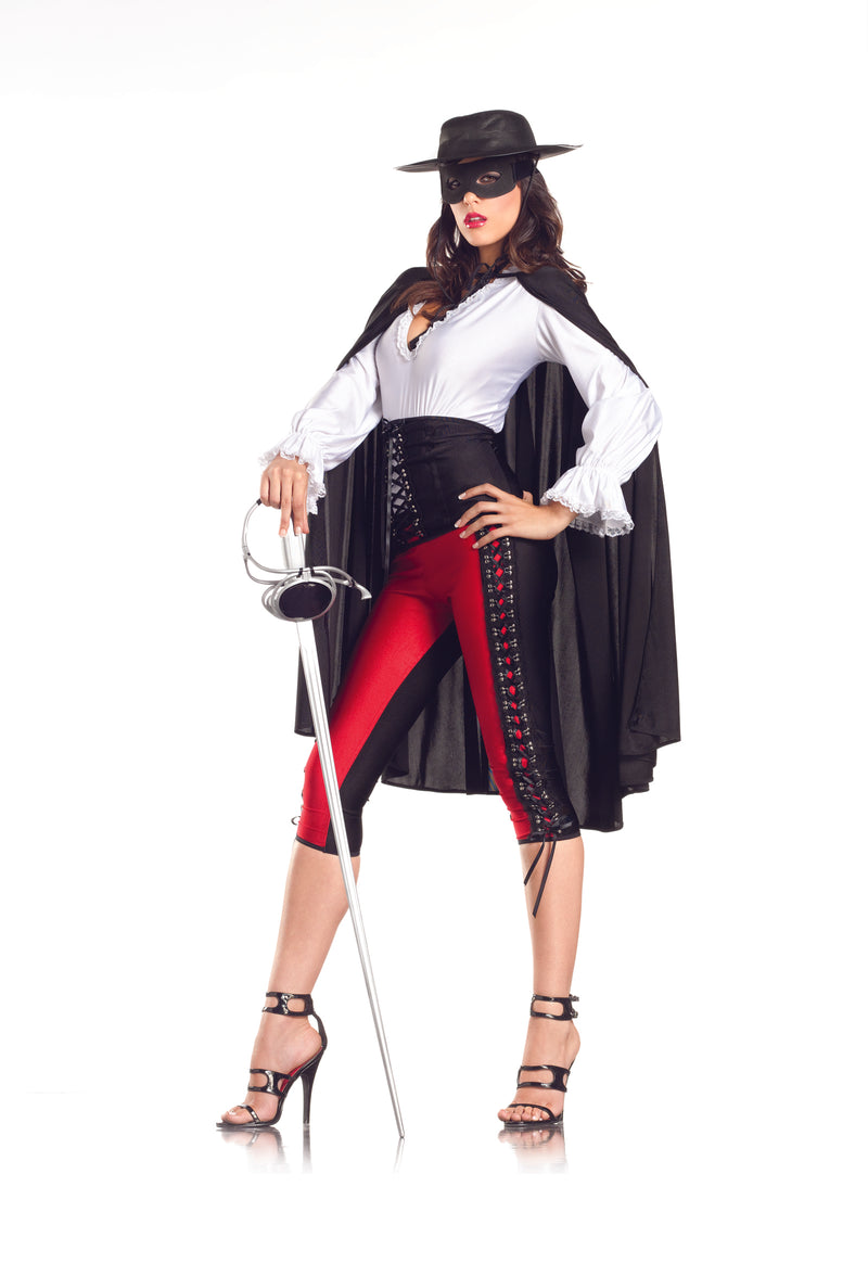 Adult-Women's-6-Piece-Sexy-Spanish-Lady-Zorro-Top-&-Pants-Halloween-Party-Costume