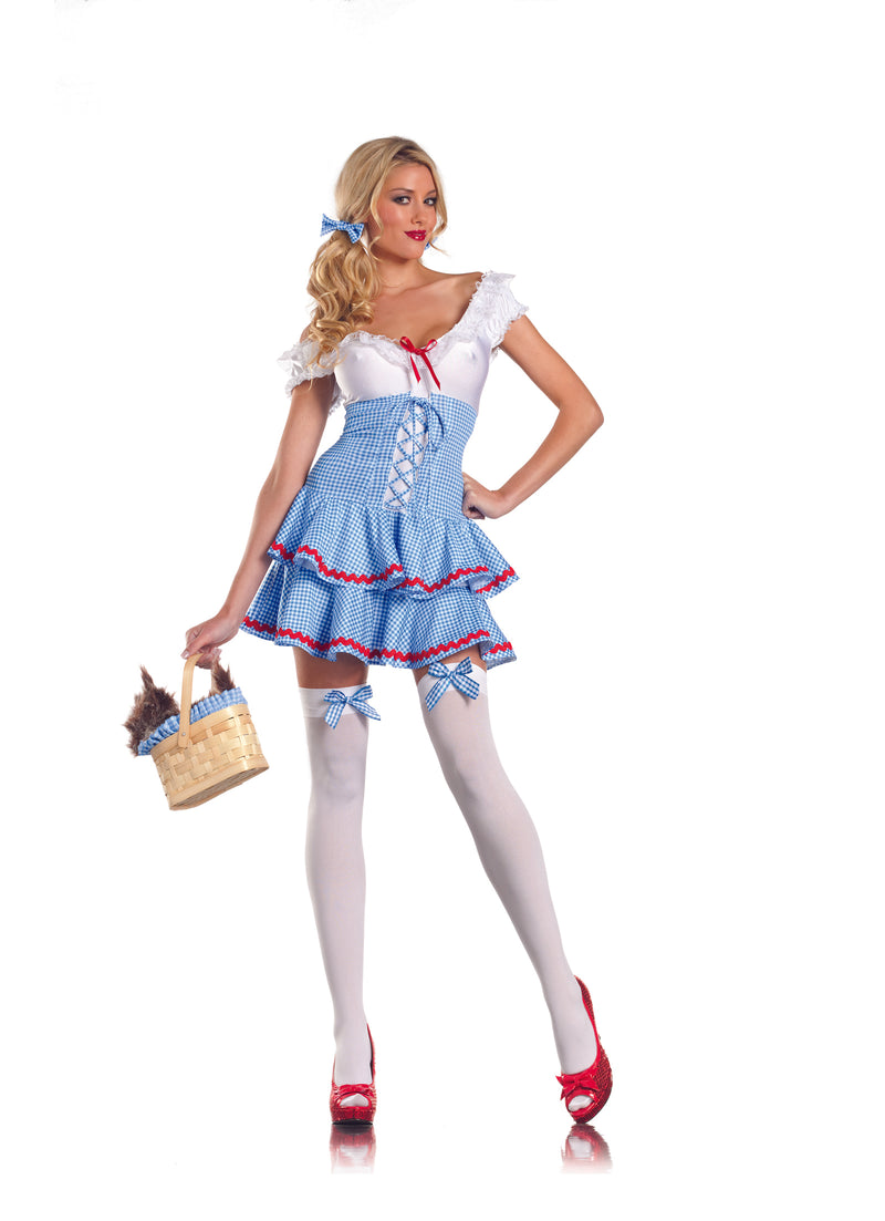 Adult-Women's-2-Piece-Sexy-Wizard-of-Oz-Dorothy-Halloween-Party-Costume