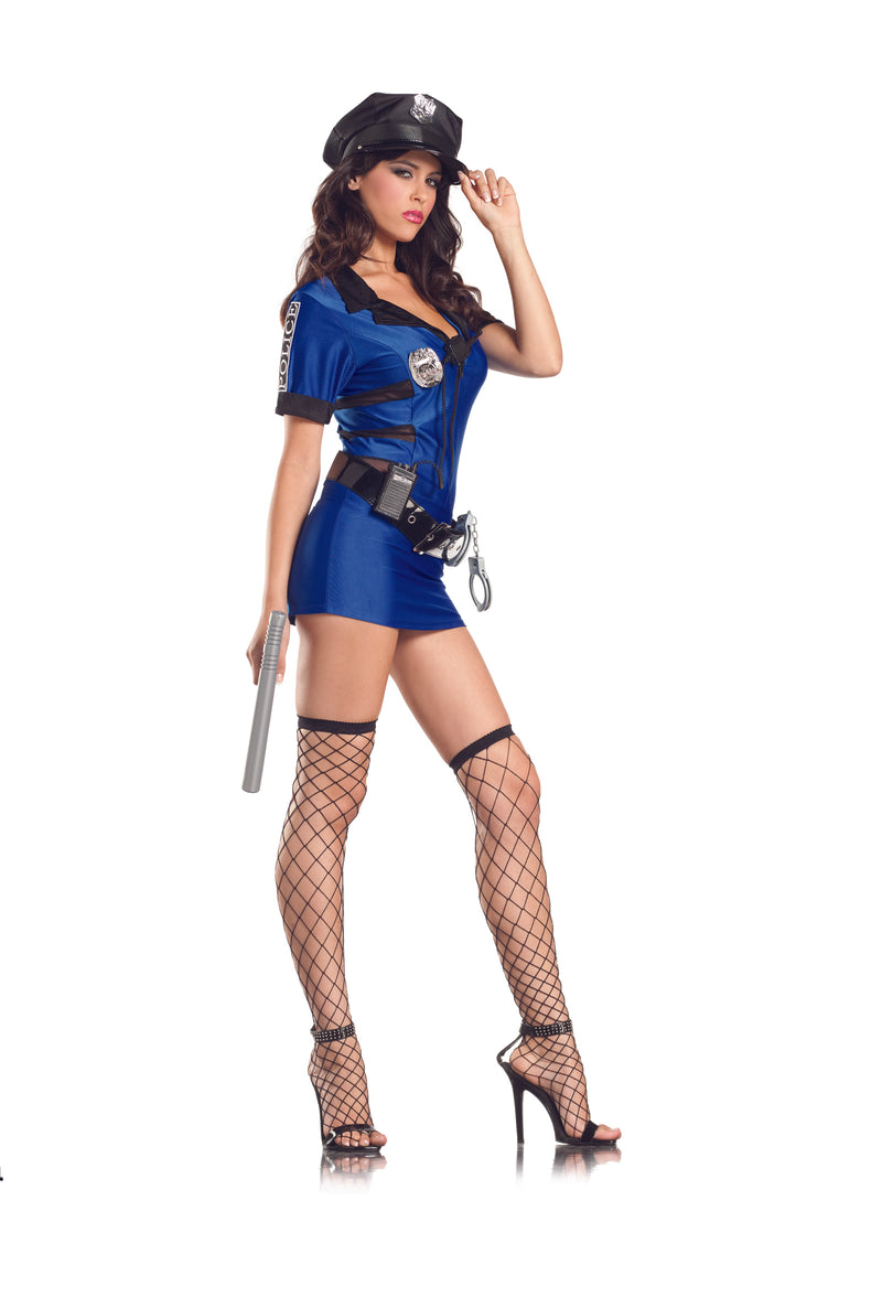 Adult-Women's-7-Piece-Police-Officer-Cop-Dress-Halloween-Party-Costume