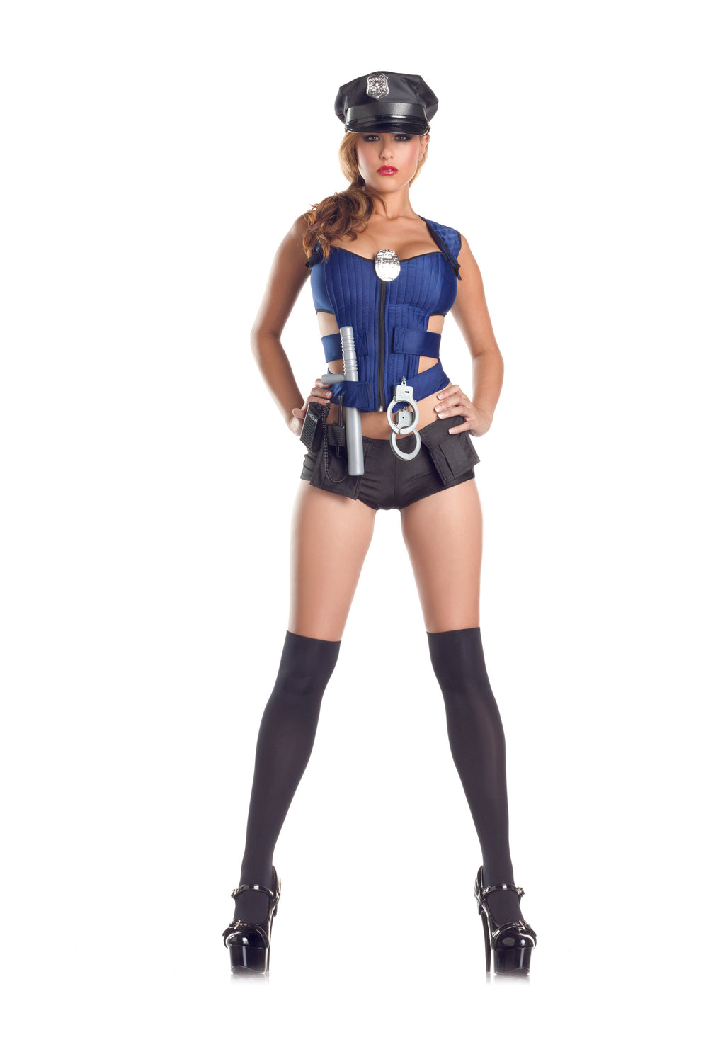 Adult-Women's-8-Piece-Police-Officer-Cop-Blue-Vest-&-Booty-Shorts-Halloween-Party-Costume