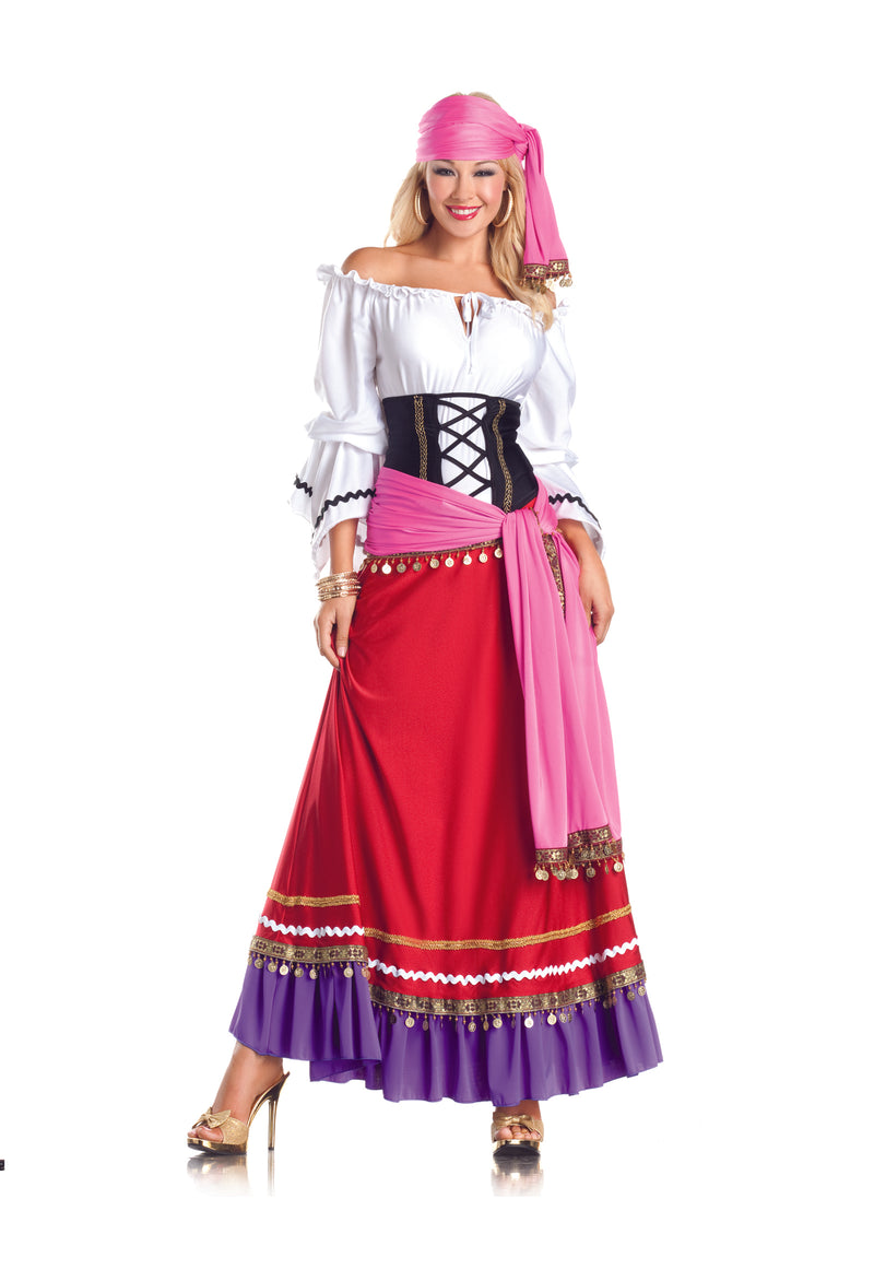 Adult-Women's-5-Piece-Sexy-Fortune-Teller-Gypsy-Halloween-Party-Costume-