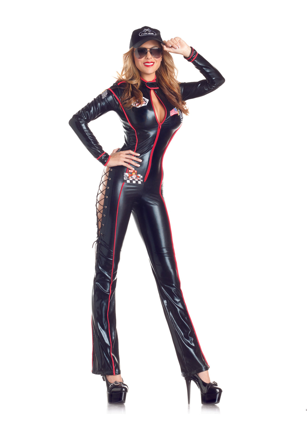 Adult-Women's-3-Piece-Sexy-Race-Car-Driver-Black-Jumpsuit-Halloween-Party-Costume-