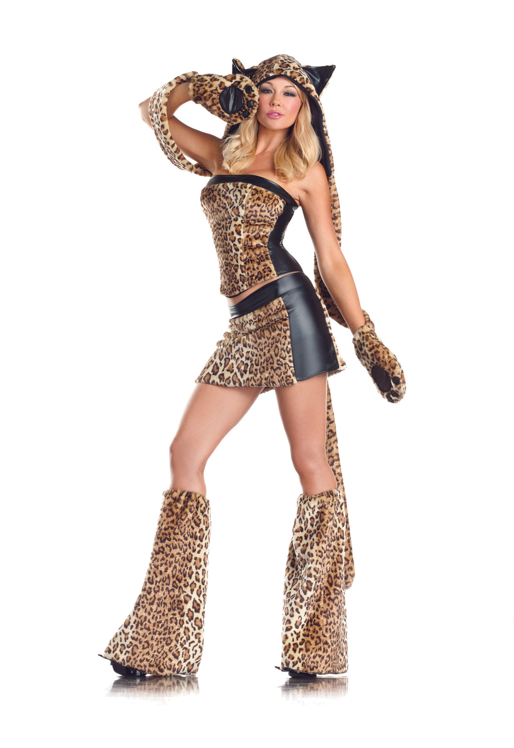 Adult-Women's-6-Piece-Sexy-Leopard-Halloween-Party-Costume-With-Hood-&-Leg-Warmers