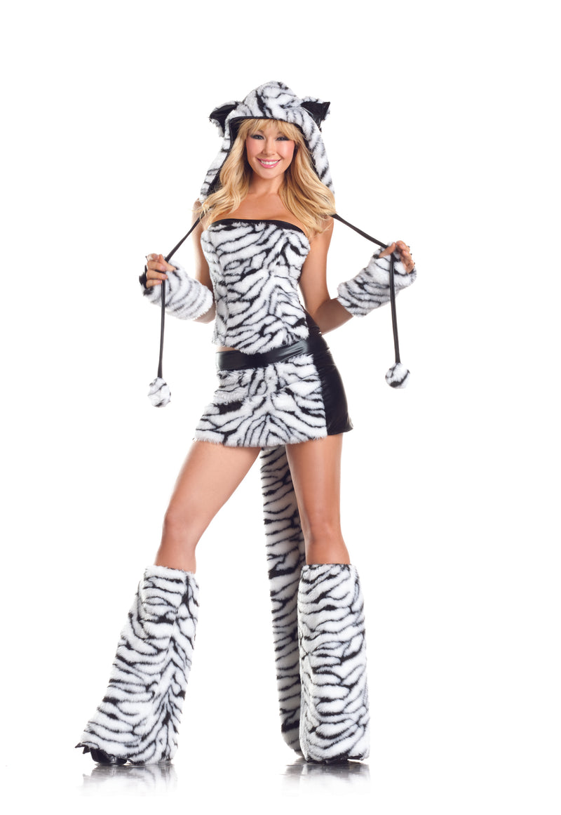 Adult-Women's-8-Piece-Sexy-White-Tiger-Halloween-Party-Costume-With-Hood-&-Leg-Warmers