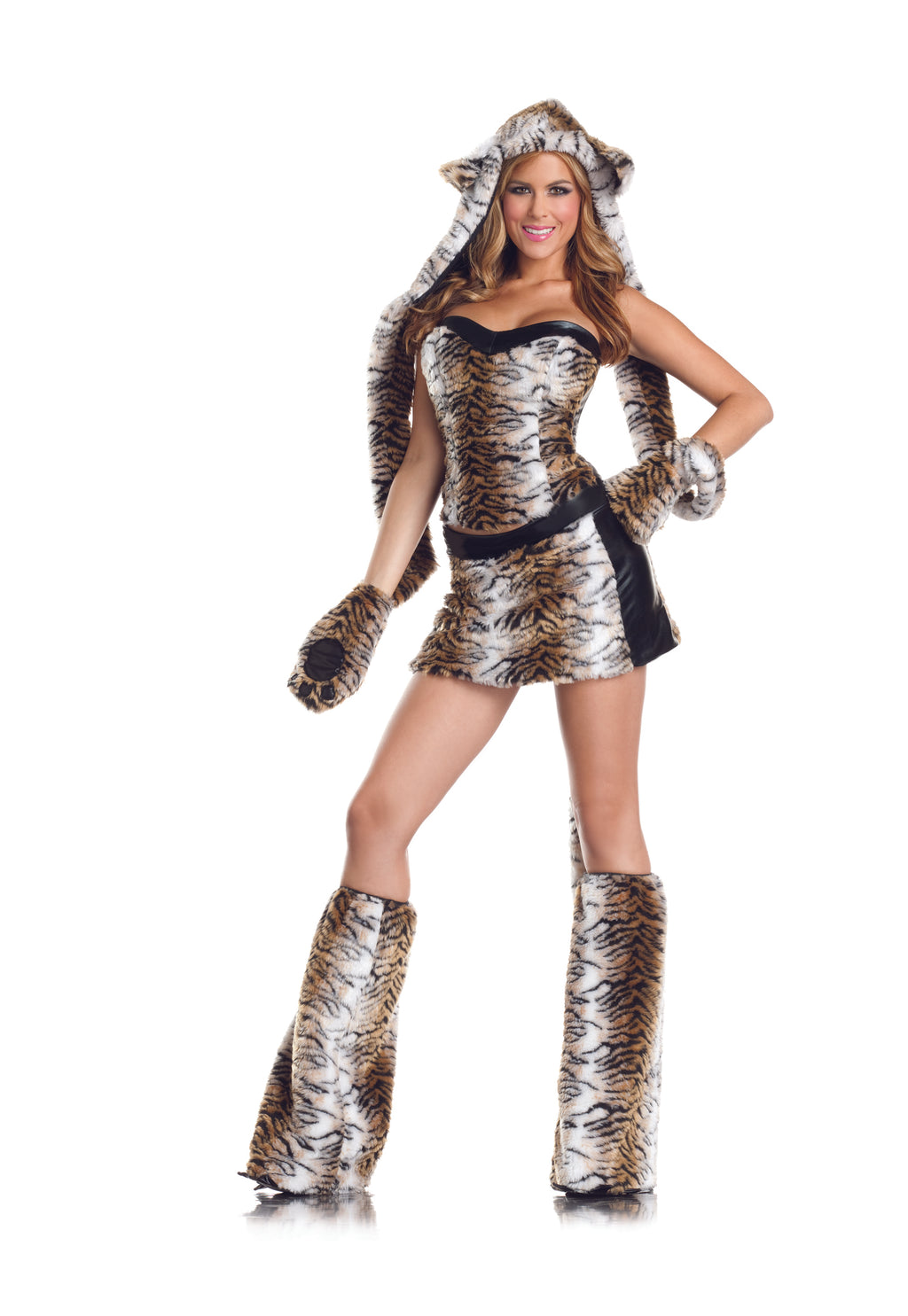 Adult-Women's-6-Piece-Sexy-Tiger-Halloween-Party-Costume-With-Hood-&-Leg-Warmers