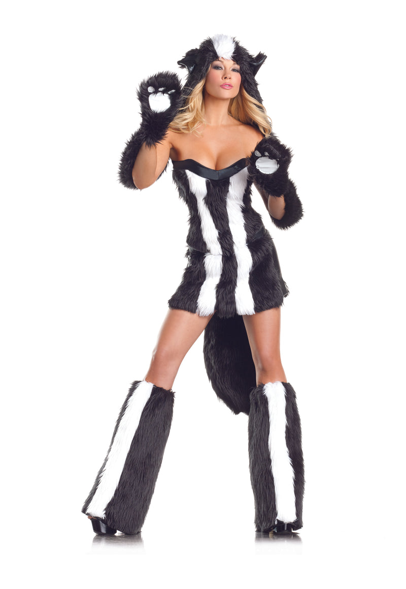 Adult-Women's-6-Piece-Sexy-Skunk-Halloween-Party-Costume-With-Hood-&-Leg-Warmers