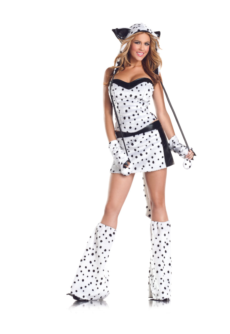 Adult-Women's-8-Piece-Sexy-Dalmatian-Halloween-Party-Costume-With-Hood-&-Leg-Warmers
