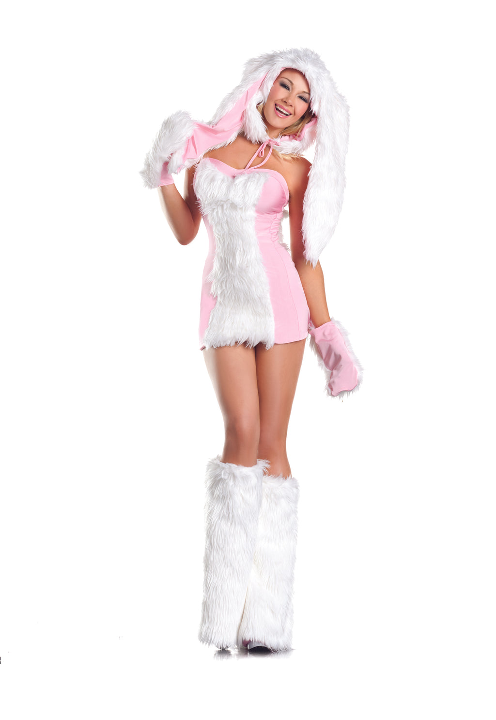 Adult-Women's-5-Piece-Sexy-Bunny-Halloween-Party-Costume-With-Hood-&-Leg-Warmers