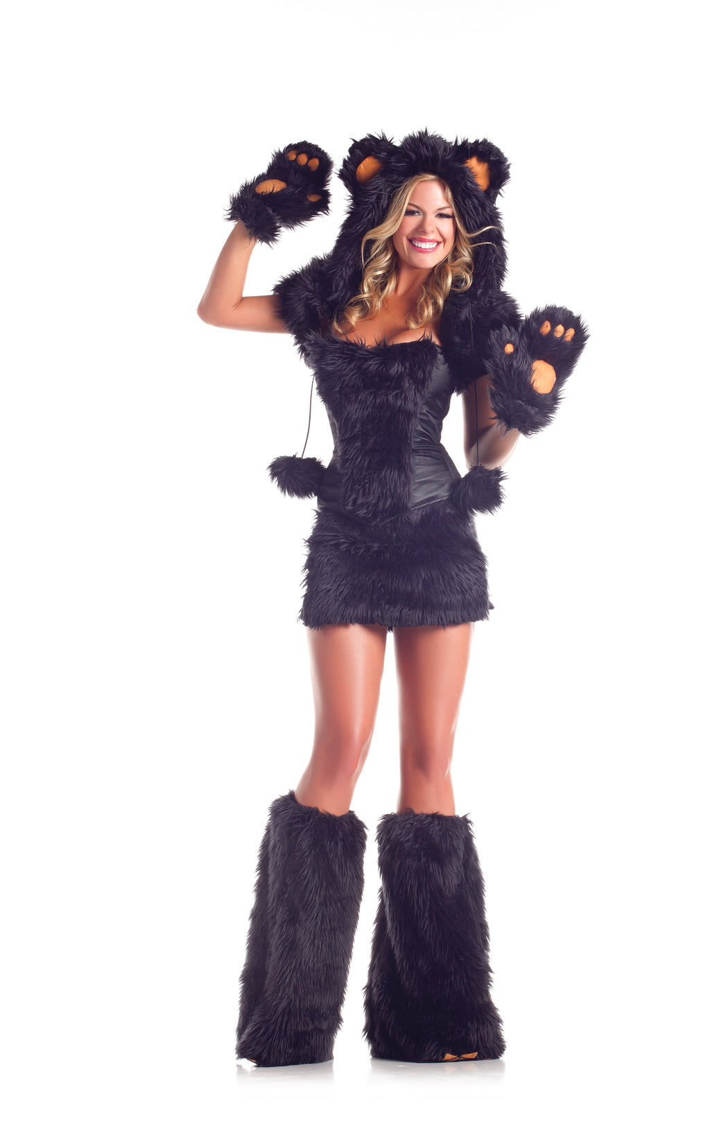 Adult-Women's-8-Piece-Sexy-Black-Bear-Halloween-Party-Costume-With-Hood-&-Leg-Warmers