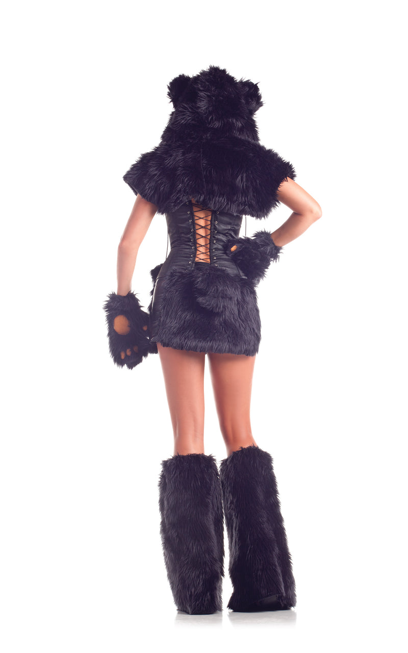 Adult Women's 8 Piece Sexy Black Bear Halloween Party Costume With Hood & Leg Warmers - Fest Threads