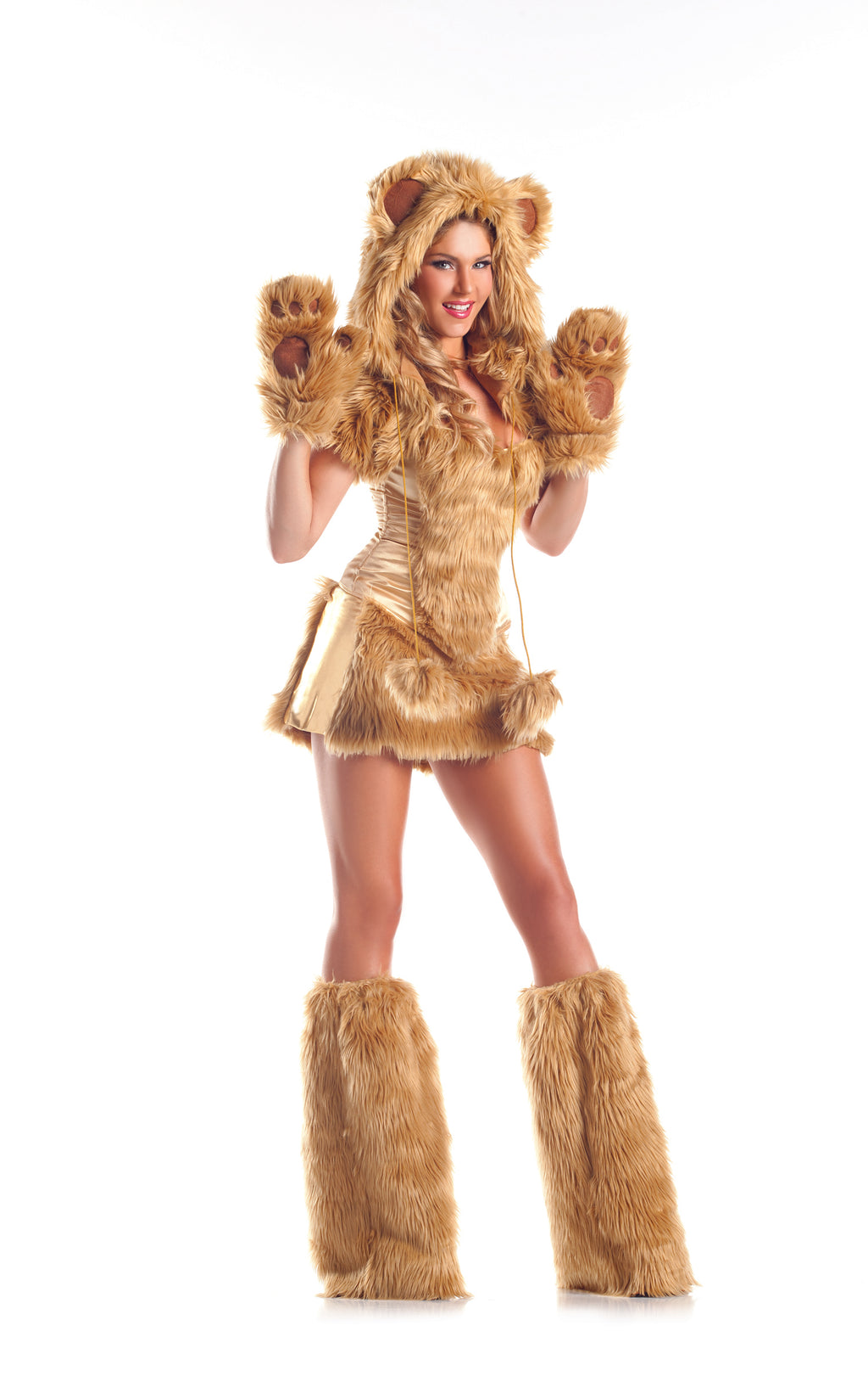 Adult-Women's-8-Piece-Sexy-Golden-Bear-Halloween-Party-Costume-With-Hood-&-Leg-Warmers