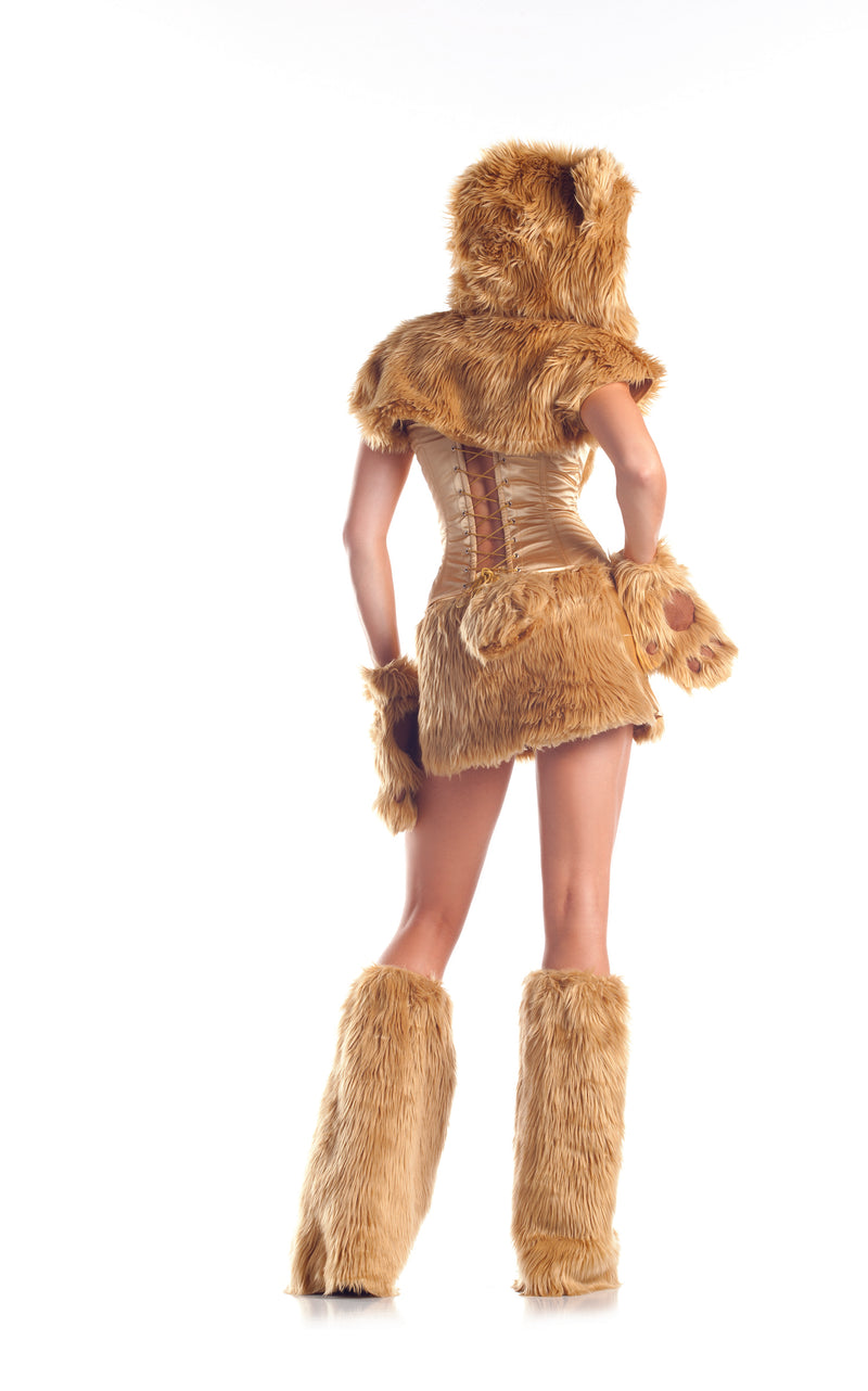 Adult Women's 8 Piece Sexy Golden Bear Halloween Party Costume With Hood & Leg Warmers - Fest Threads
