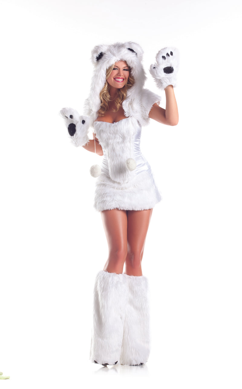 Adult-Women's-6-Piece-Sexy-Polar-Bear-Halloween-Party-Costume-With-Hood-&-Leg-Warmers