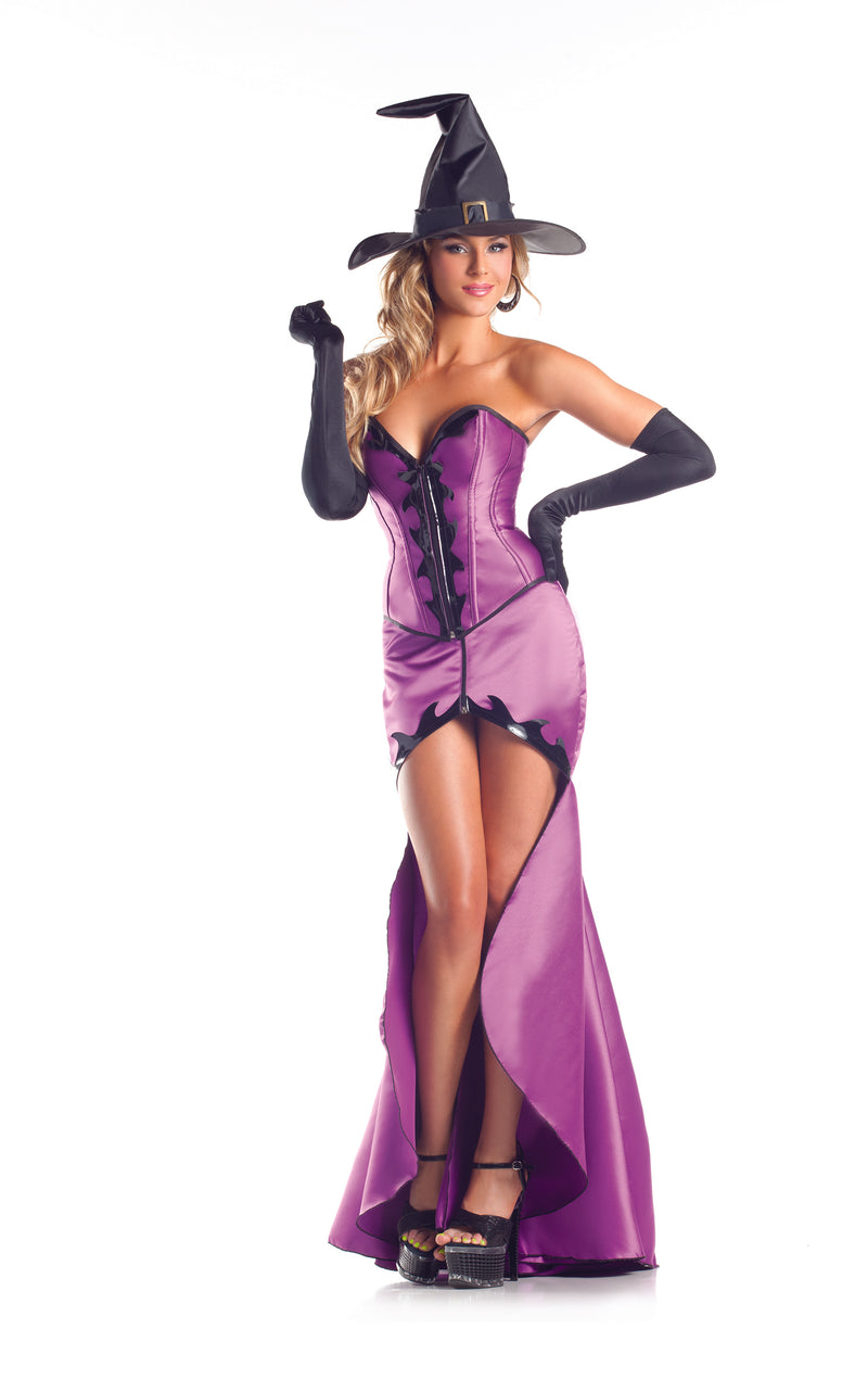 Adult-Women's-3-Piece-Witch-High-Low-Dress-Halloween-Party-Costume-