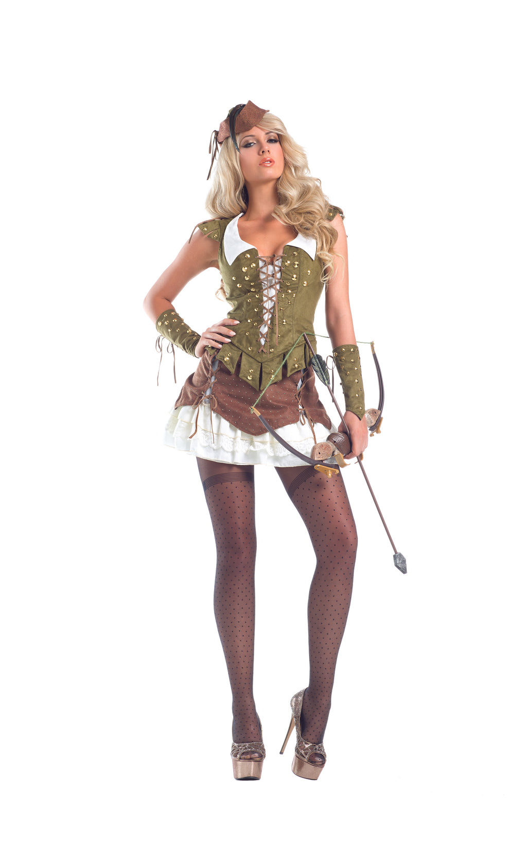 Adult-Women's-6-Piece-Sexy-Miss-Robin-Hood-Corset-Dress-Halloween-Party-Costume-