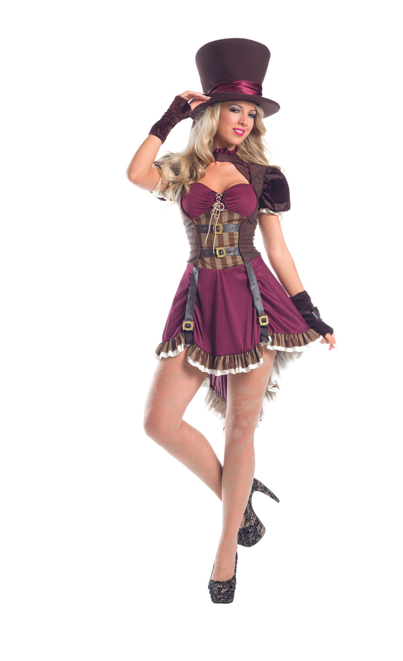 Adult-Women's-3-Piece-Sexy-Steampunk-Mad-Hatter-Halloween-Party-Costume